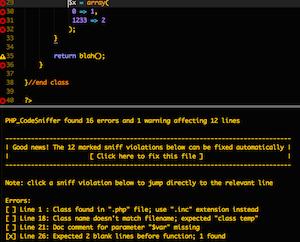 PHPCS screenshot