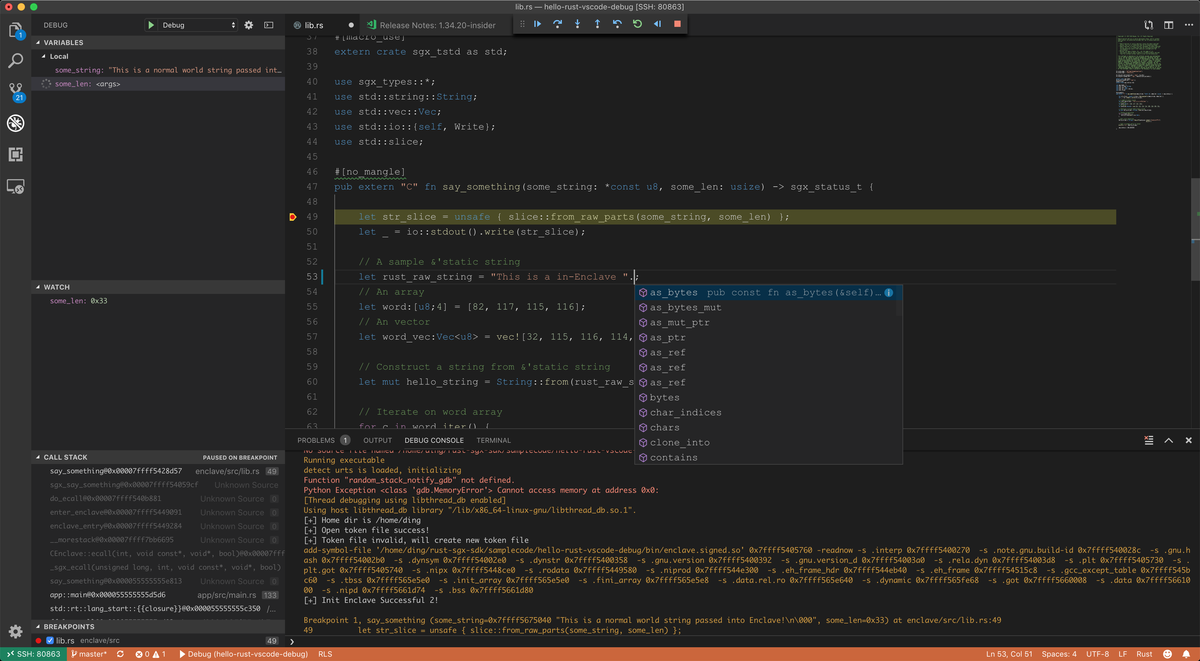 Use VSCode rls rust analysis sgx gdb for graphic developing