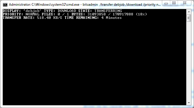 Use bitsadmin to download via the command line on Windows 7