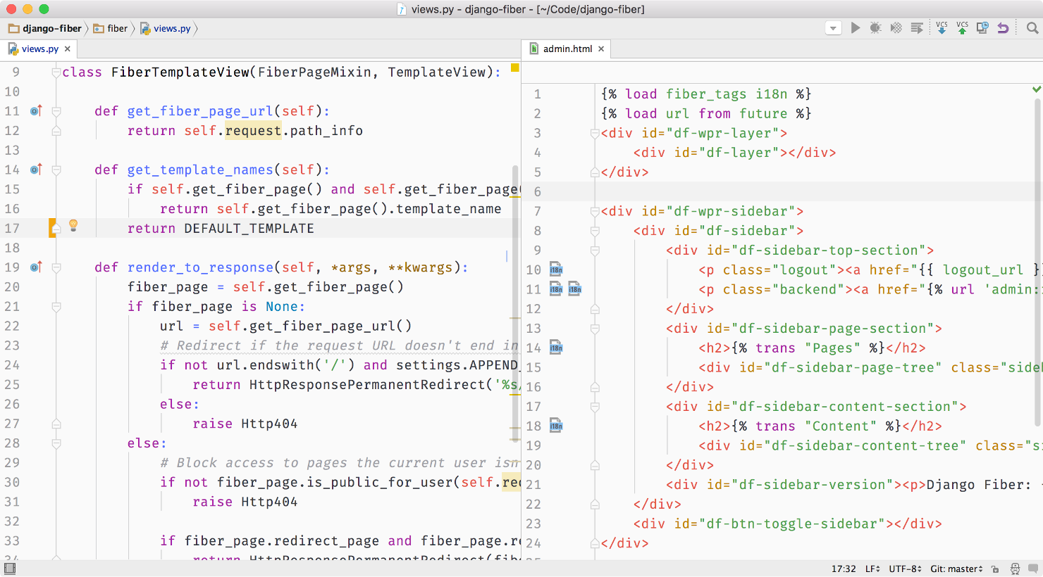 Screenshot of PyCharm with One Light color scheme