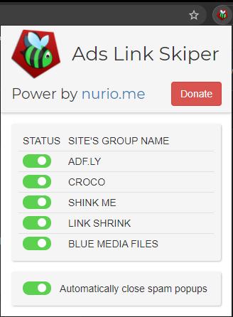 Ads Link Skiper popup capture