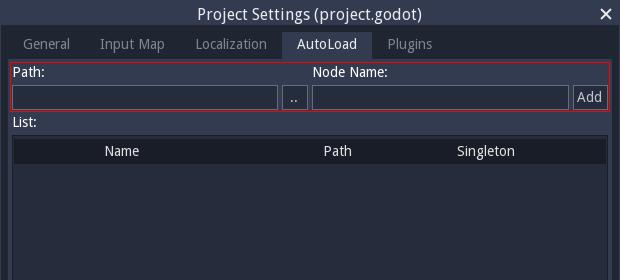 Autoload menu screenshot