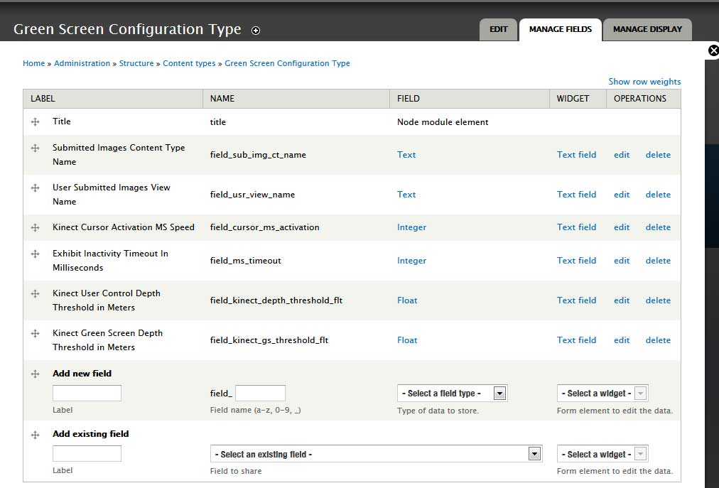 Drupal configuration node content type field settings
