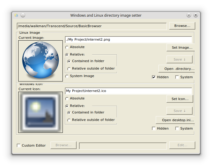 DirectoryImage LinuxMono with a folder loaded