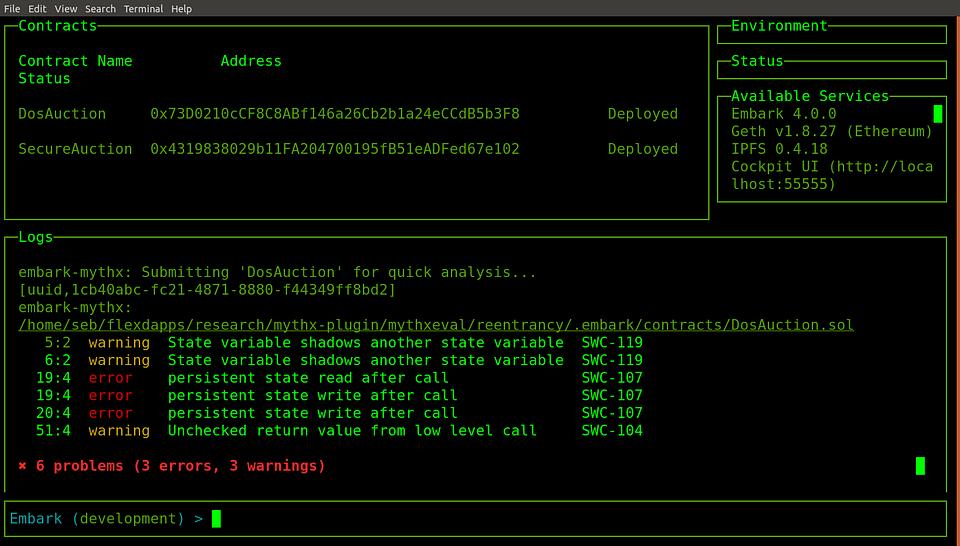 Running MythX analyses in Status Embark