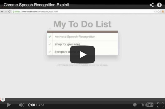 Chrome Speech Recognition Exploit Demo Video