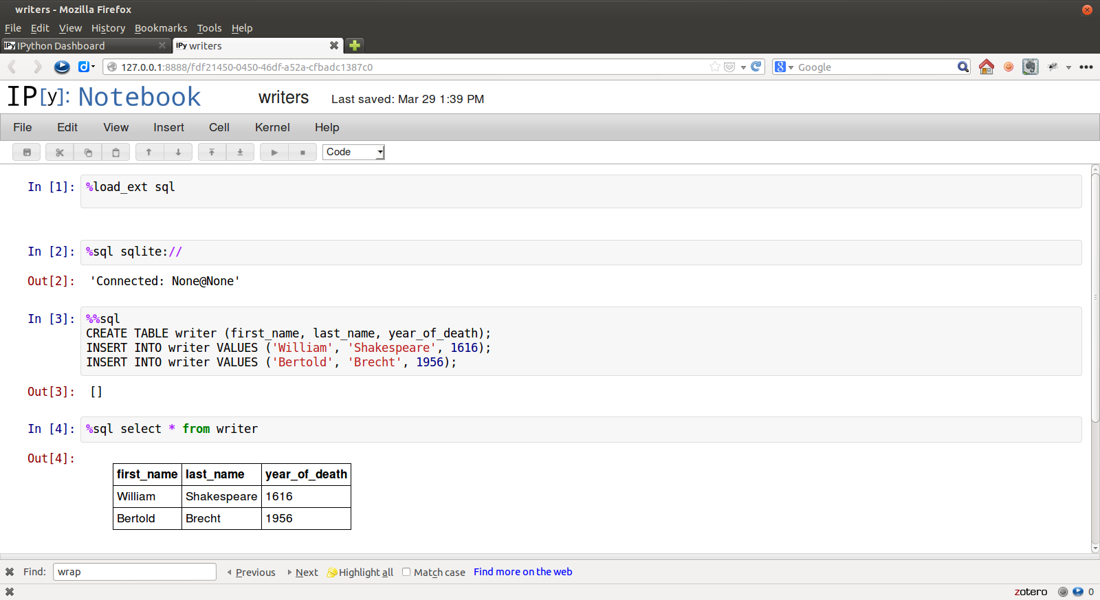 screenshot of ipython-sql in the Notebook