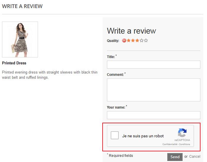 Captcha on Product Comment Form