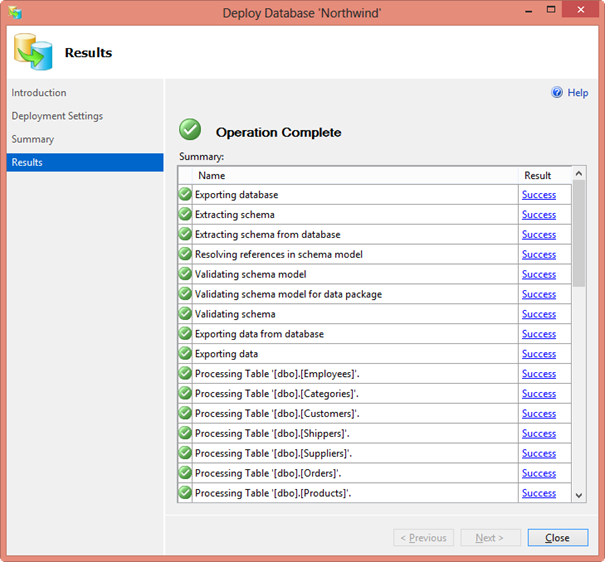 The Deploy Database NorthWind dialog box, showing success on all tasks.