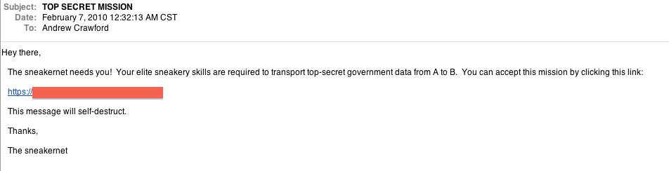 Getting a sneakernet run e-mail