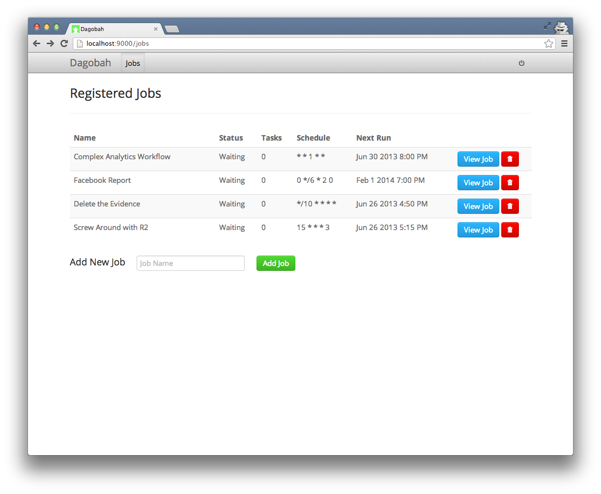 GitHub - thieman/dagobah: Simple DAG-based job scheduler in