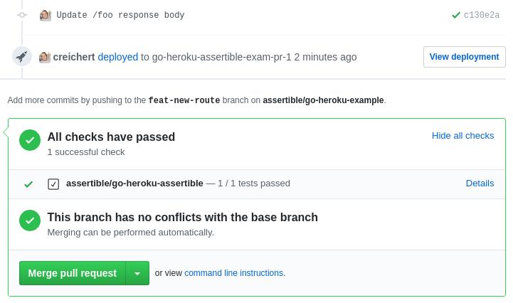Assertible GitHub Status Check