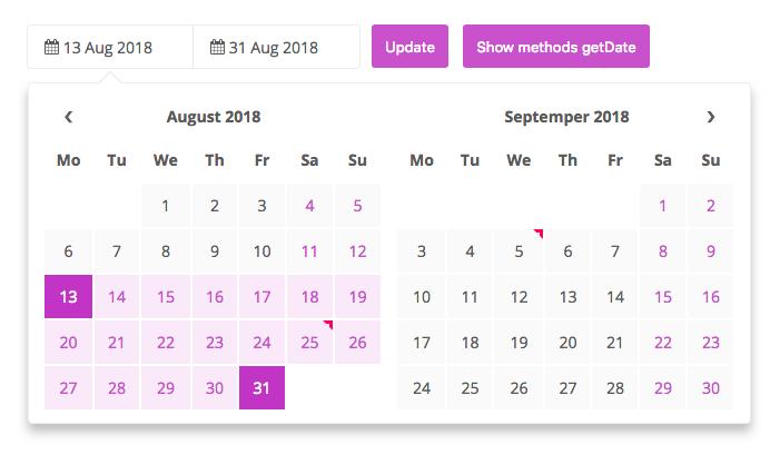 GitHub - crazychicken/t-datepicker: Date range picker, two