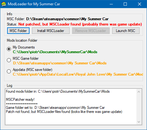 How to install MSCLoader using MSCPatcher · piotrulos