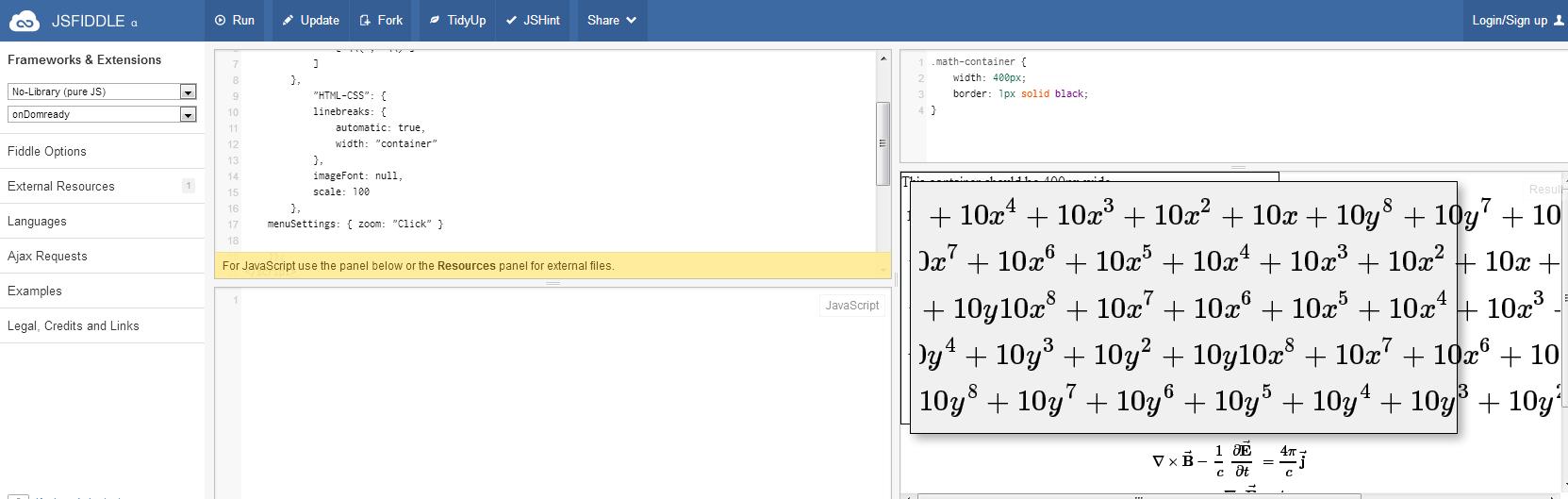 MathJax Equation Demo jsFiddle