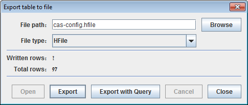 Export table dialog