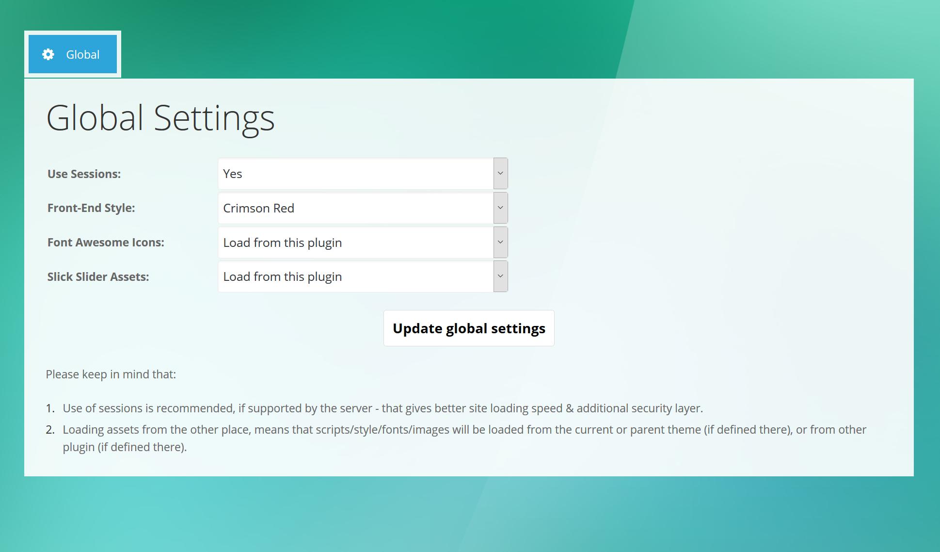 4. Benefits - Admin Global Settings
