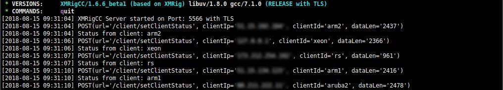 Screenshot of XMRigCC Server