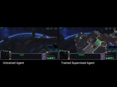 Trained and untrained agents play StarCraft II 'mini-game'