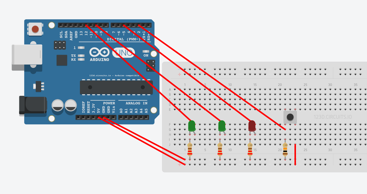 Arduino Uno LED project on a breadboard
