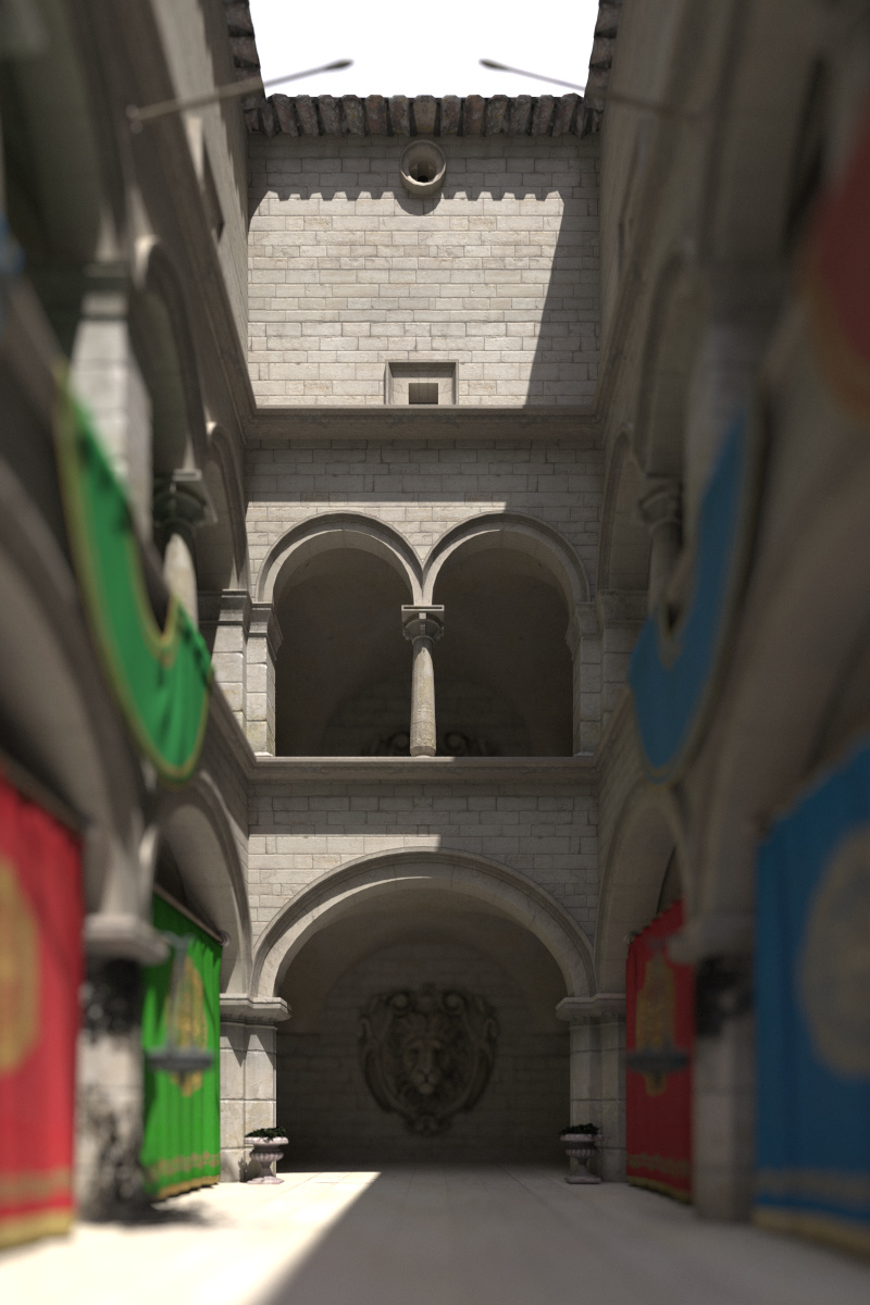 Enabling the architectural flag corrects the perspective projection distortion, resulting in parallel vertical edges.