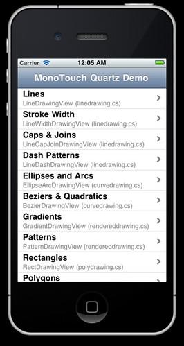 iPhone running Quartz sample one