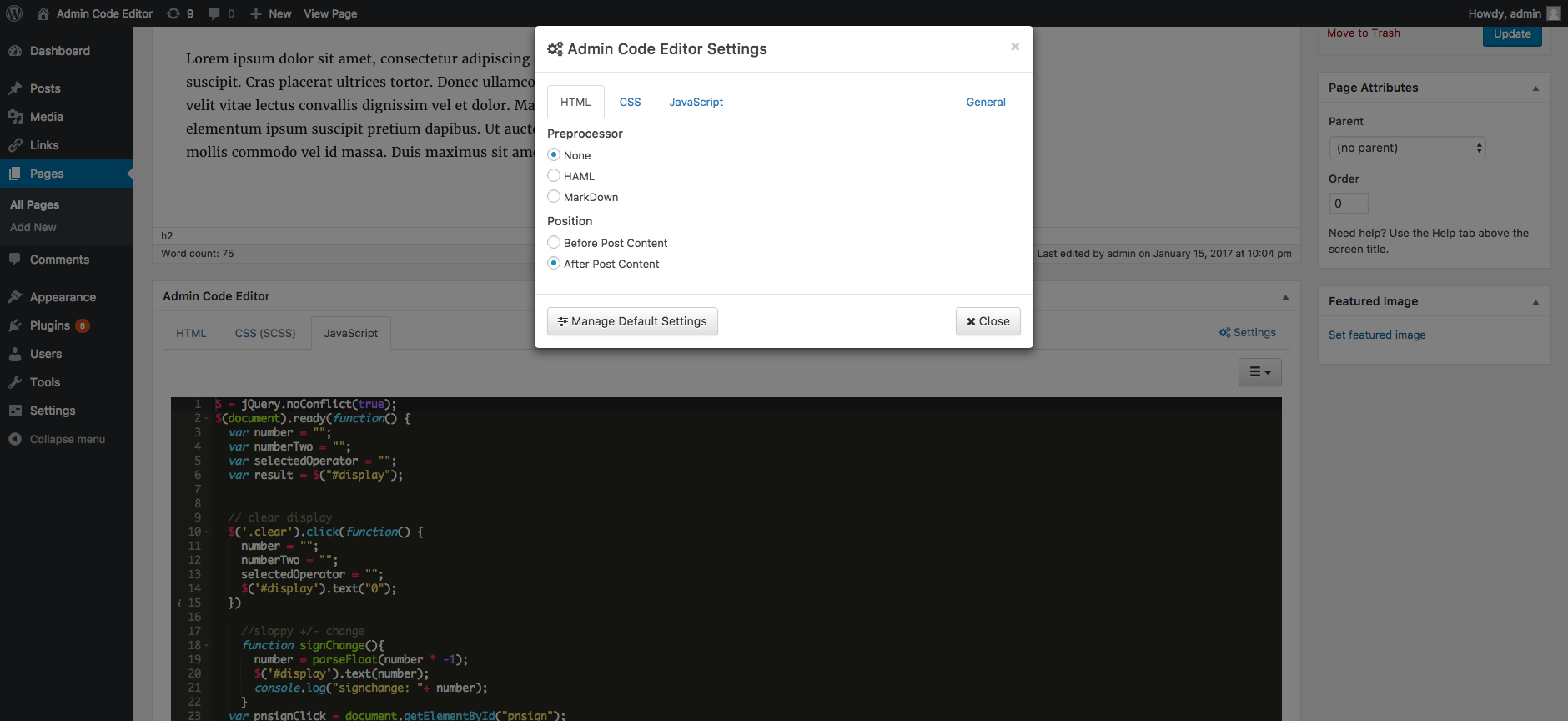 Settings modal window with the HTML tab active.