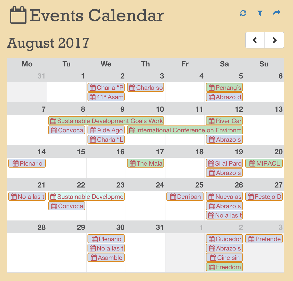 Multidomain events calendar