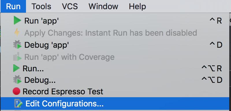 Run -> Edit Configurations