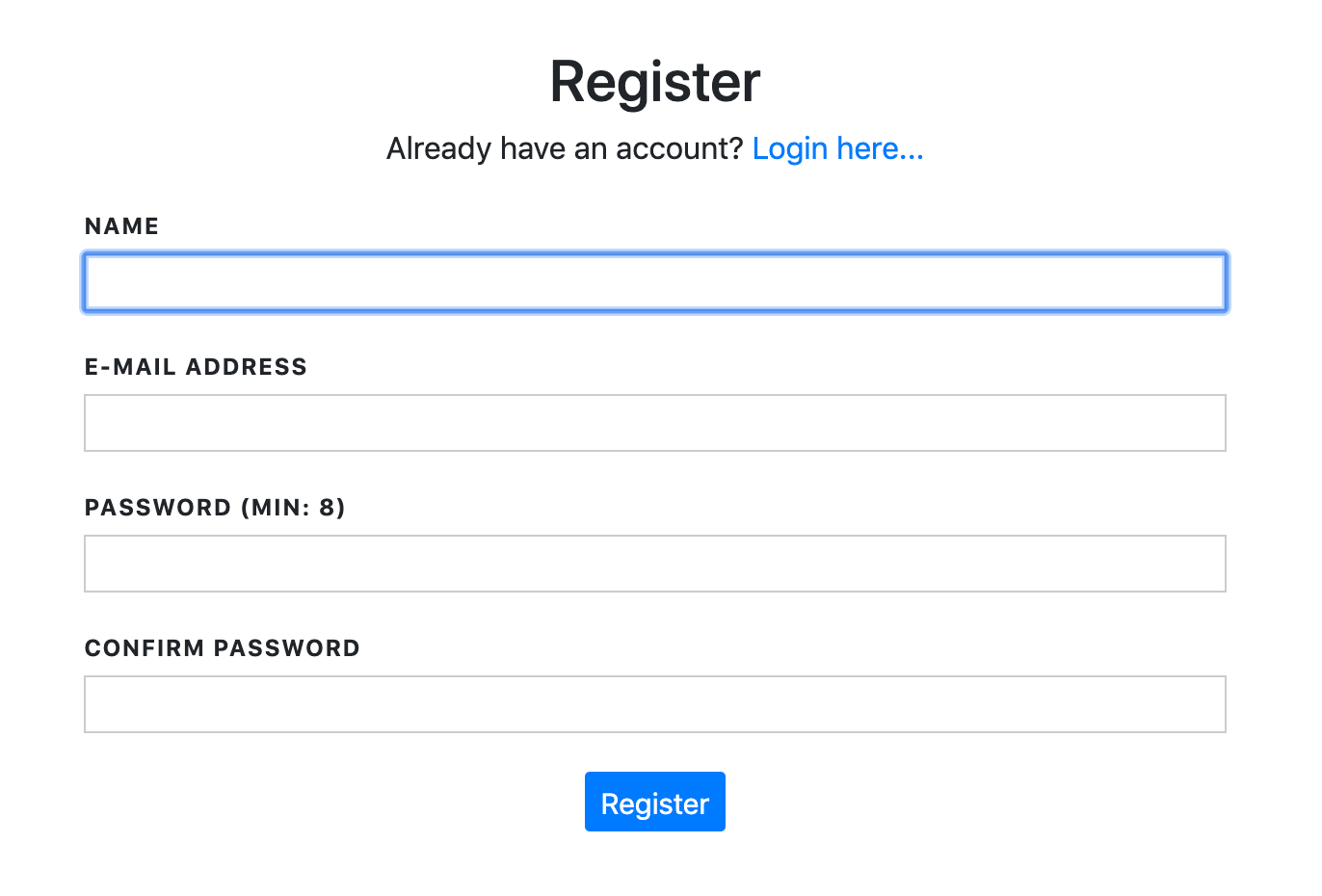 Register form in Laravel