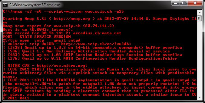 Nmap NSE Vulscan