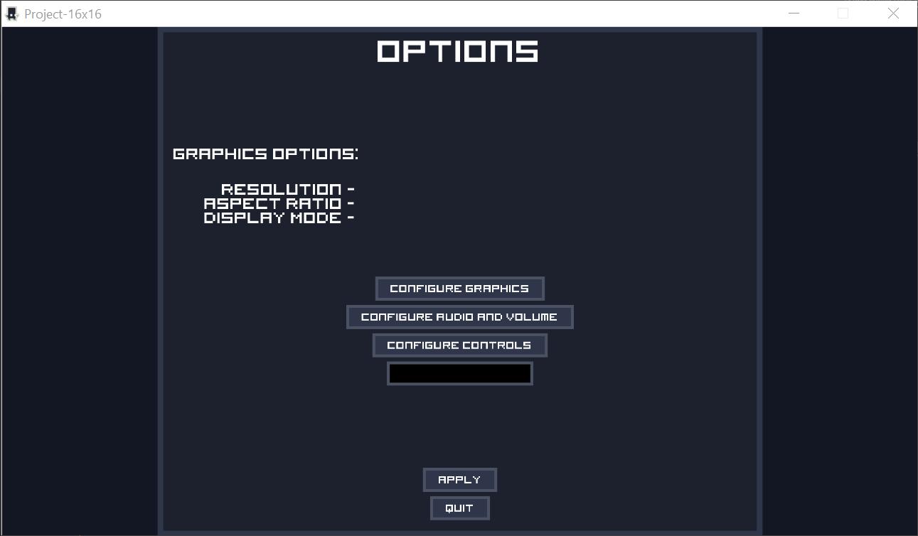 Showcasing the settings.Five buttons, configure graphics, configure audio and volume, configure controls, apply, quit