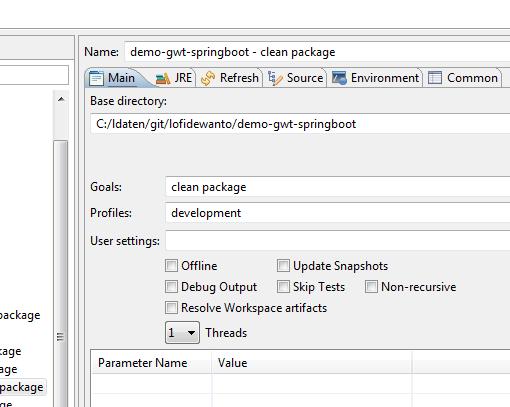 Maven compile with Profile development