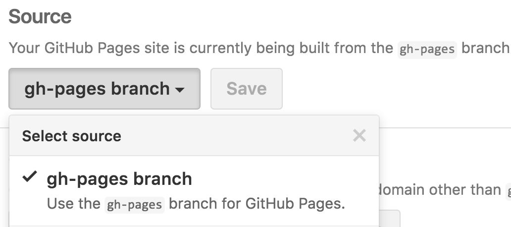gh-pages branch setting