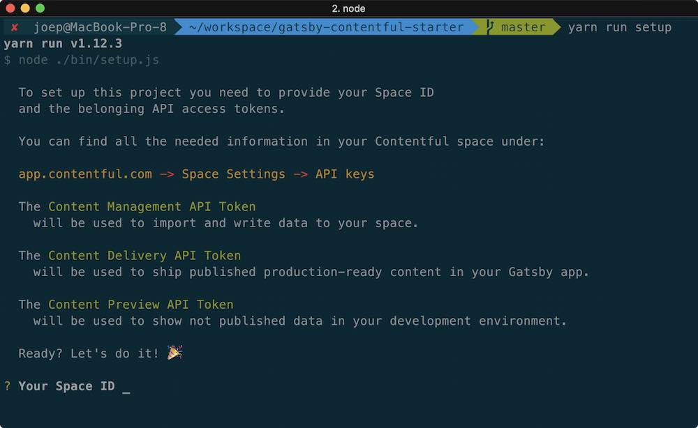 Command line dialog of the npm run setup command