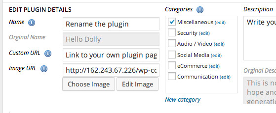 Screengrab of the plugin edit details function