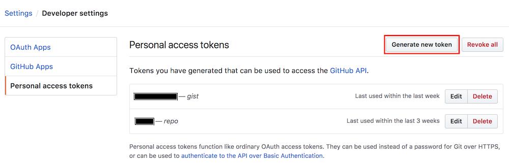 Goto Settings / Developer settings / Personal Access Tokens