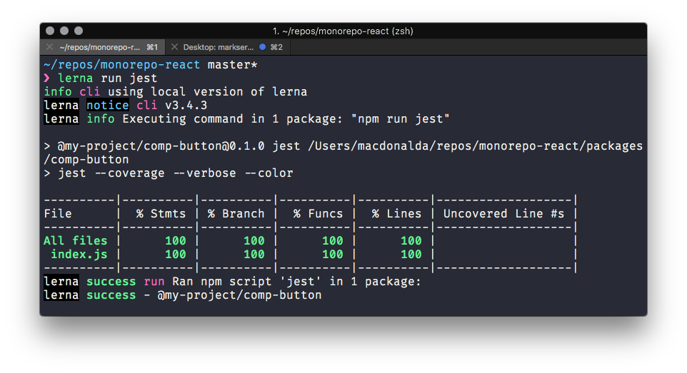 Screenshot of Jest React Test passing with Babel 7