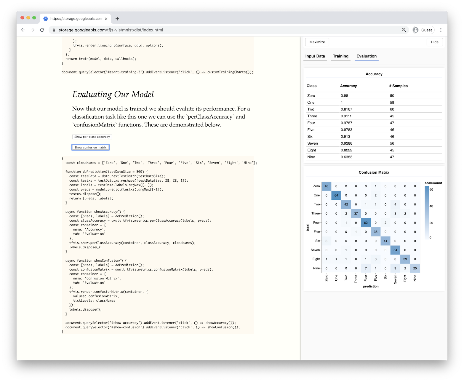 Dataset accuracy metrics in a table and confusion matrix visualization