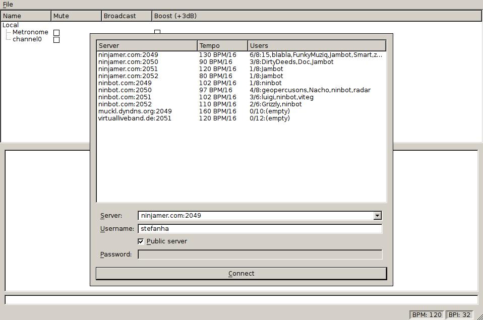 Wahjam nightly server browser