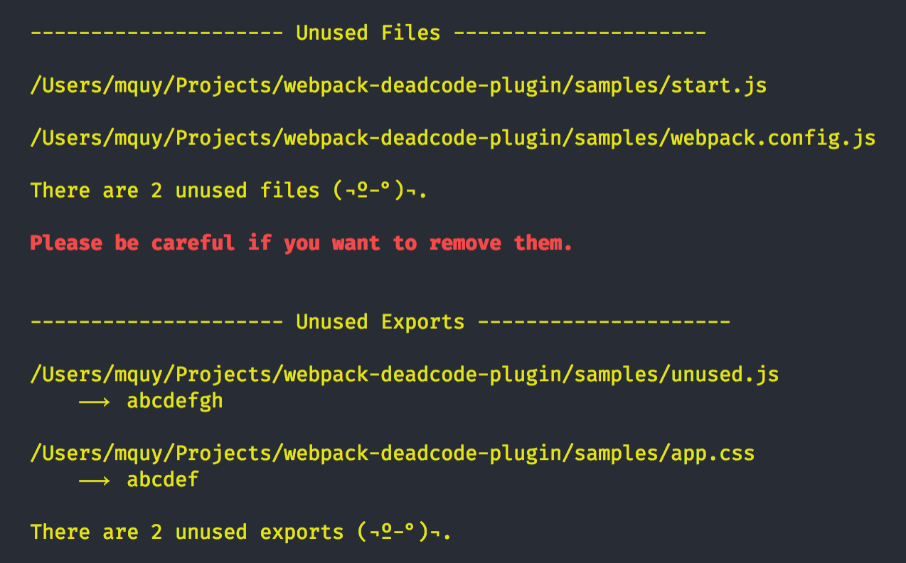 GitHub - MQuy/webpack-deadcode-plugin: Webpack plugin to
