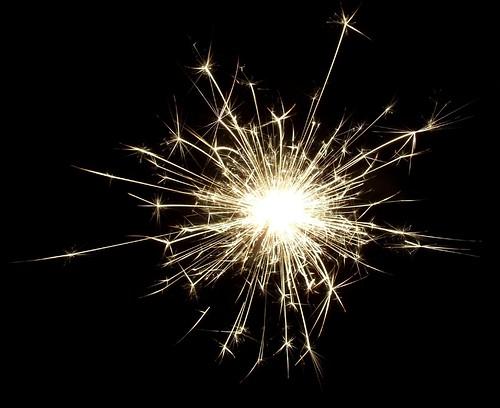 sparkler against night