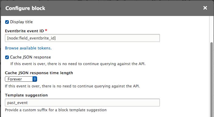 Screenshot of block configuration