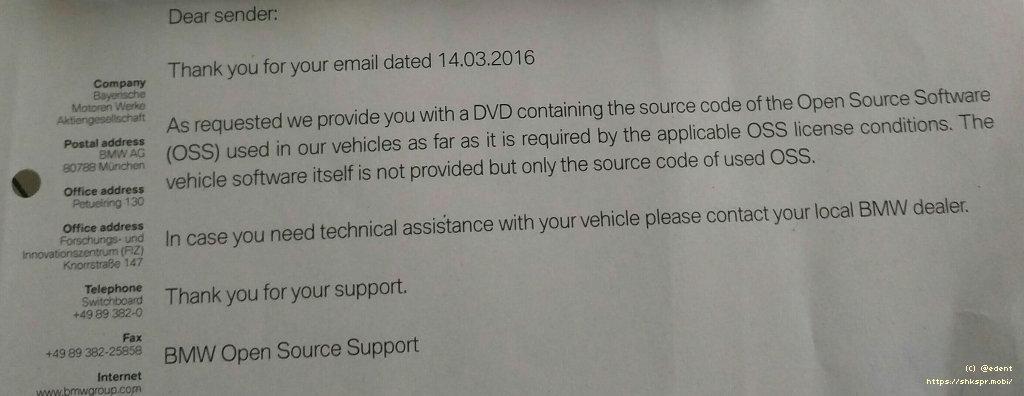 BMW GPL Letter-