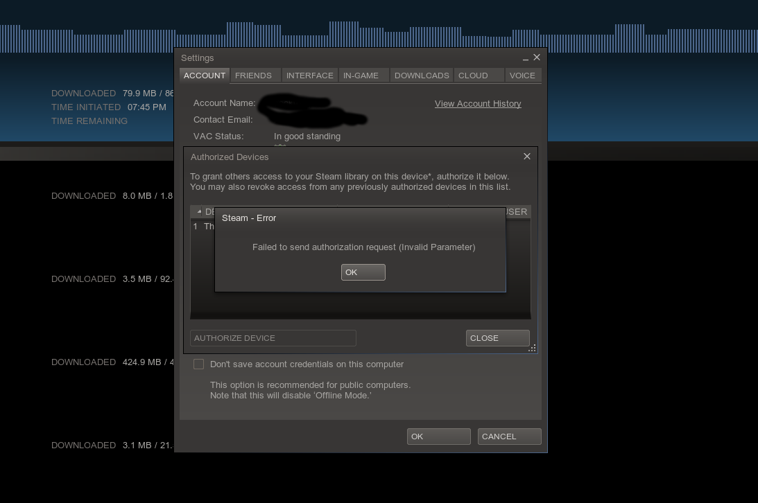 Steam Family Sharing Beta - can't authorise a device