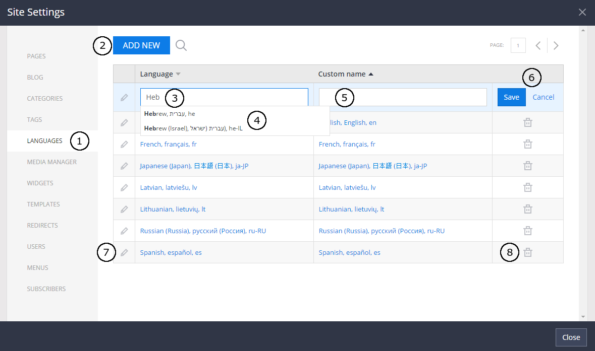 Manage languages in site settings