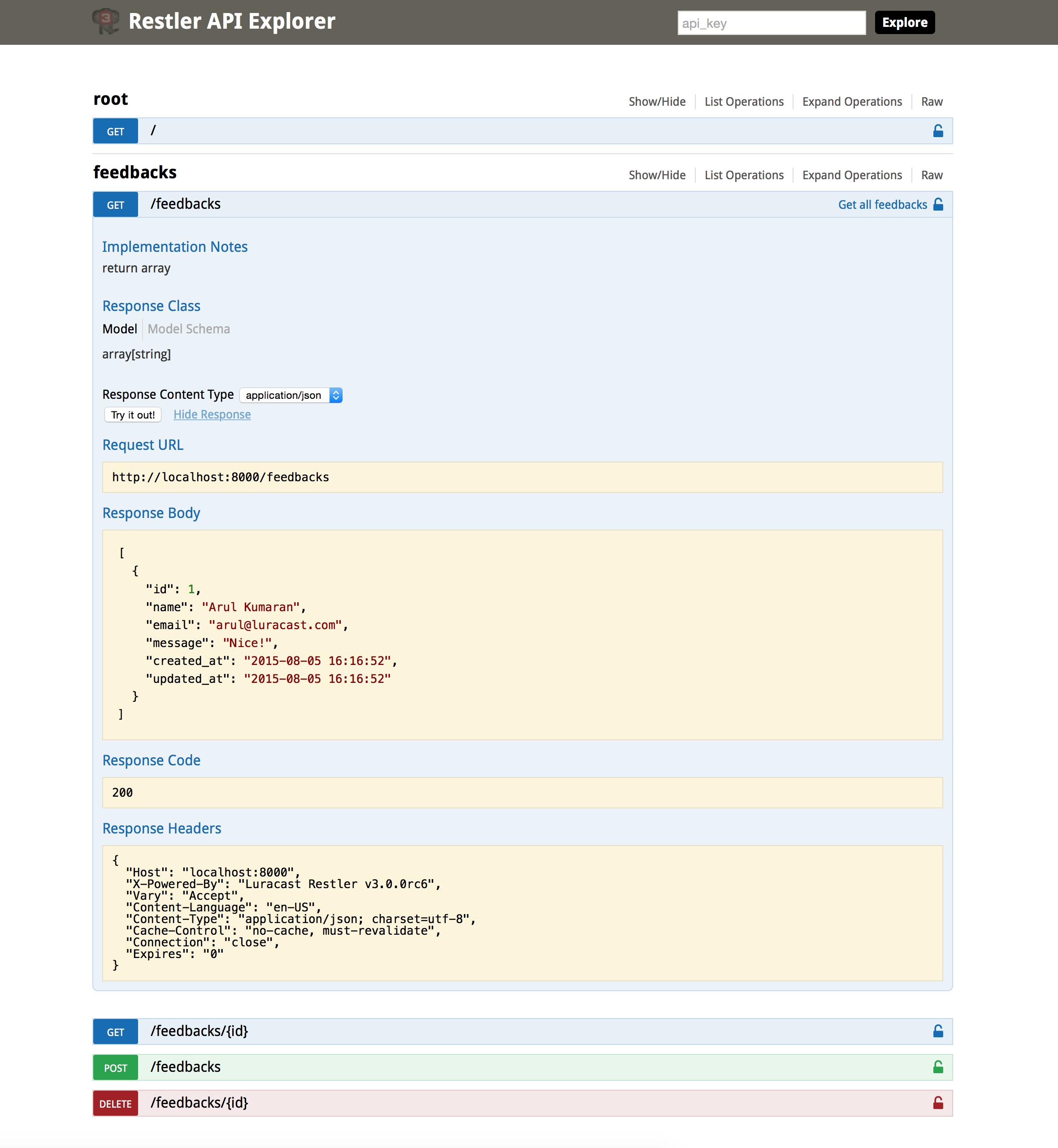 Restler API Explorer