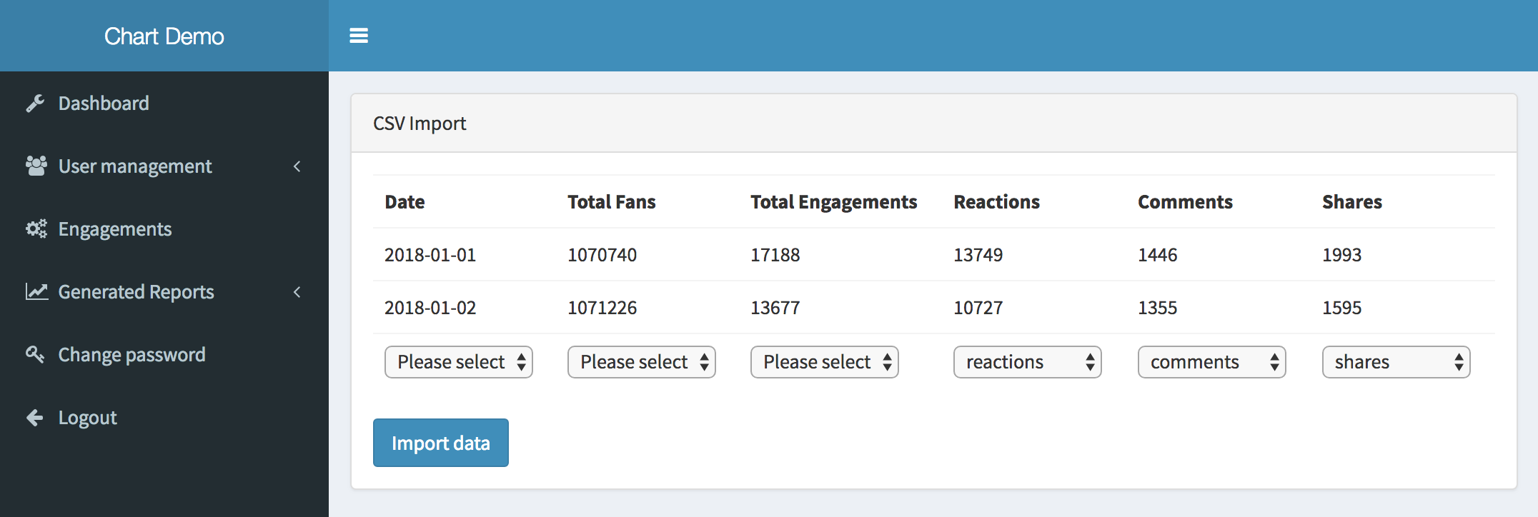 GitHub - LaravelDaily/Laravel-Import-CSV-Chart js-Reports