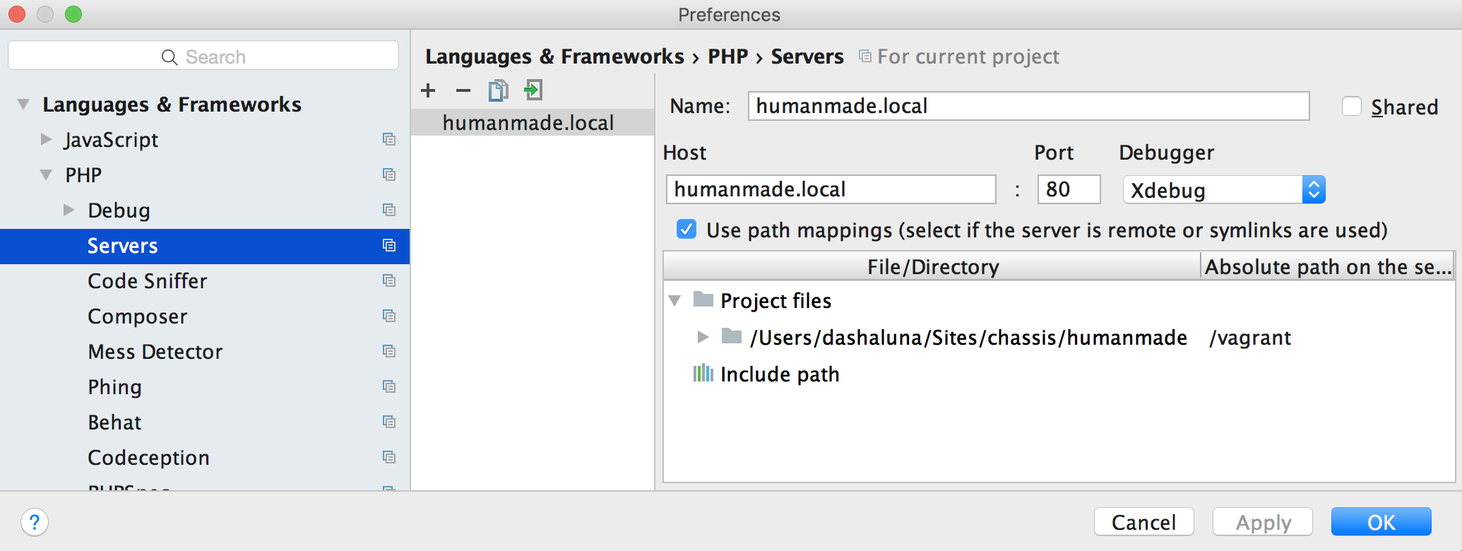 Server mapping in PHPStorm
