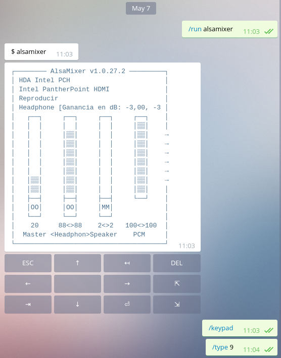 Alsamixer with keypad